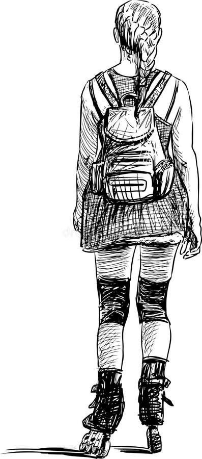 Jong meisje op rollen vector illustratie