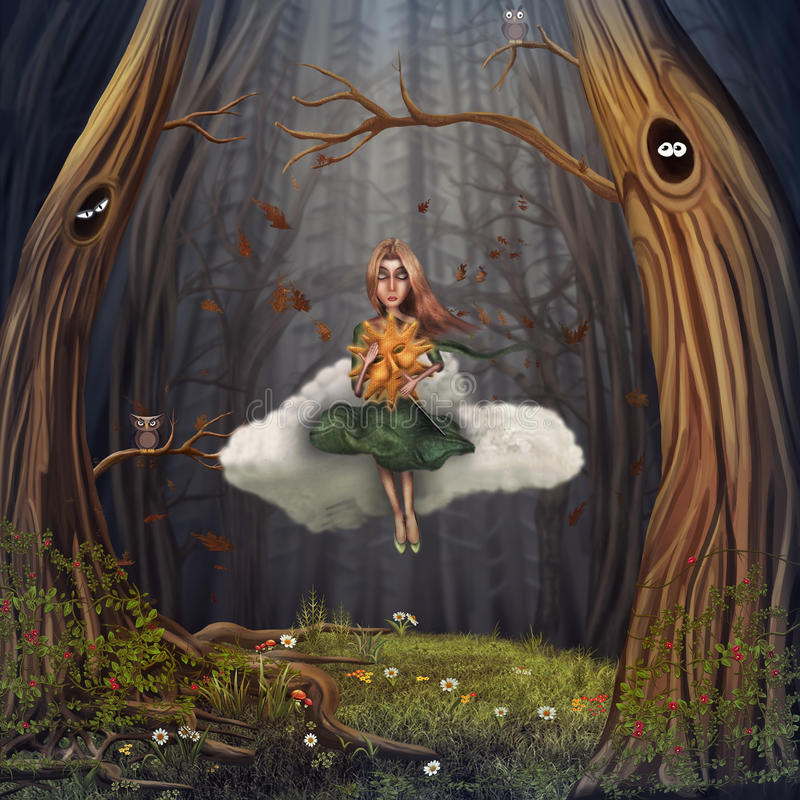 Jong meisje op wolk stock illustratie