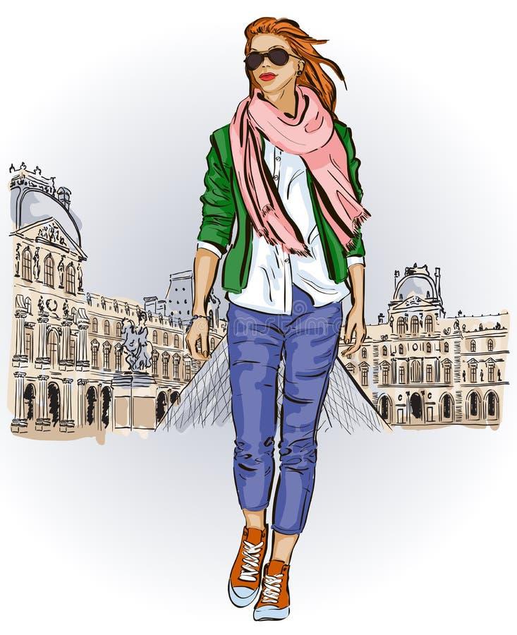 Jong meisje in schets-stijl op een Franse achtergrond vector illustratie