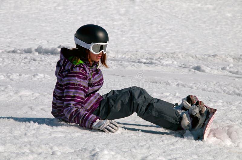 Jong Meisje Snowboarding royalty-vrije stock foto