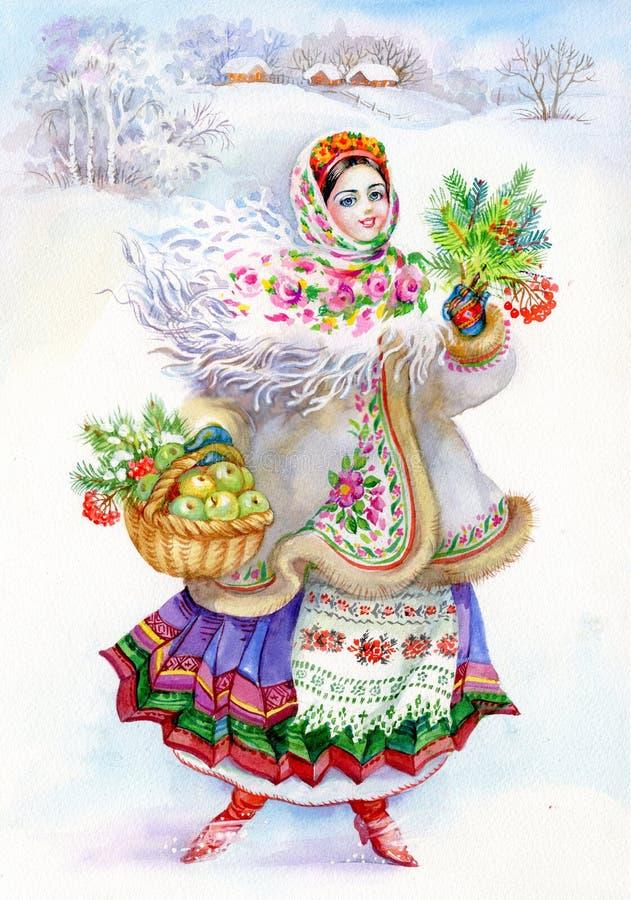 Jong meisje in traditioneel kostuum stock afbeelding