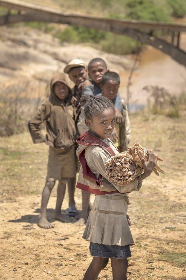 Jong meisjesportret Van Madagascar met vrienden op de achtergrond royalty-vrije stock foto