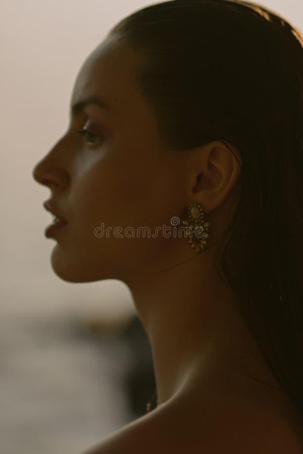 Jong mooi brunette op het meer met nat haar en lichte make-up royalty-vrije stock afbeelding