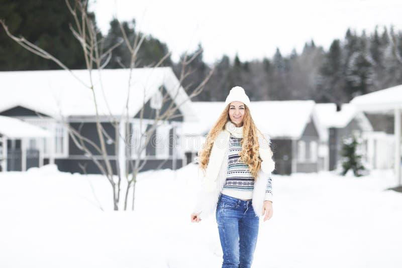 Jong mooi glimlachend meisje in openlucht bij de winterstraat stock fotografie