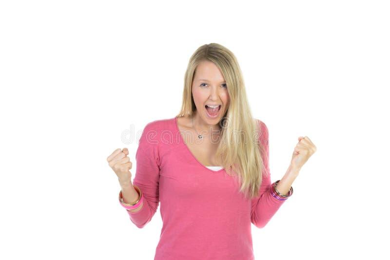 Jong mooi Kaukasisch vrouwelijk blond model in roze t-shirt royalty-vrije stock afbeeldingen