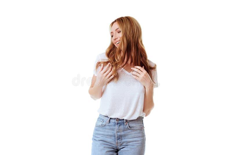 Jong mooi leuk meisje die verschillende emoties tonen stock fotografie