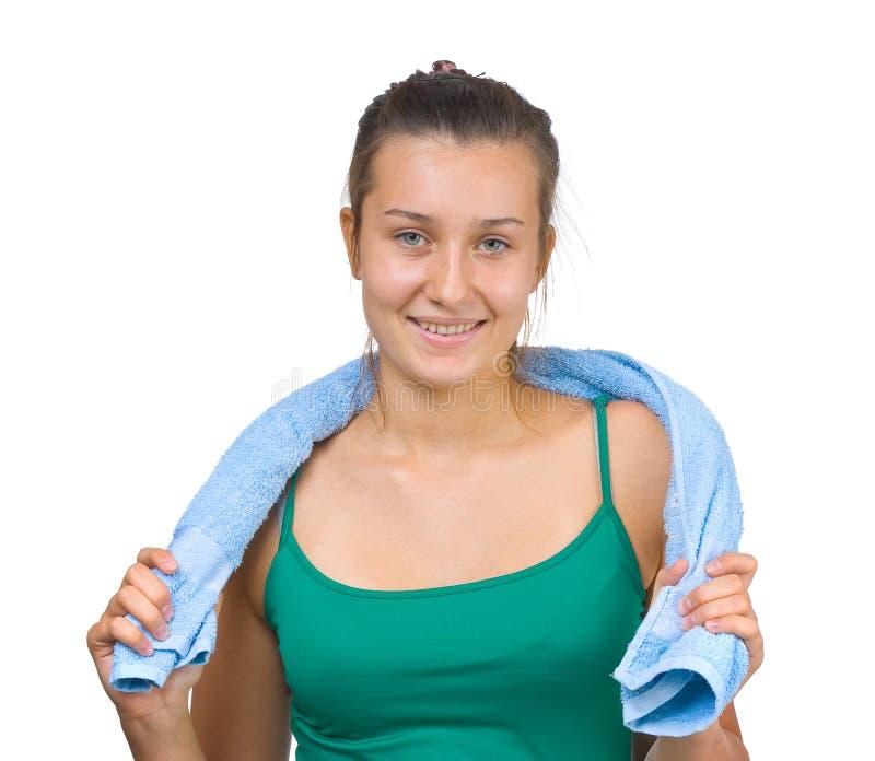 Jong mooi meisje met een handdoek royalty-vrije stock afbeeldingen