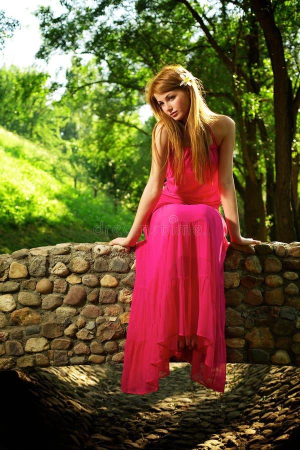 Jong mooi meisje op een brug stock foto's