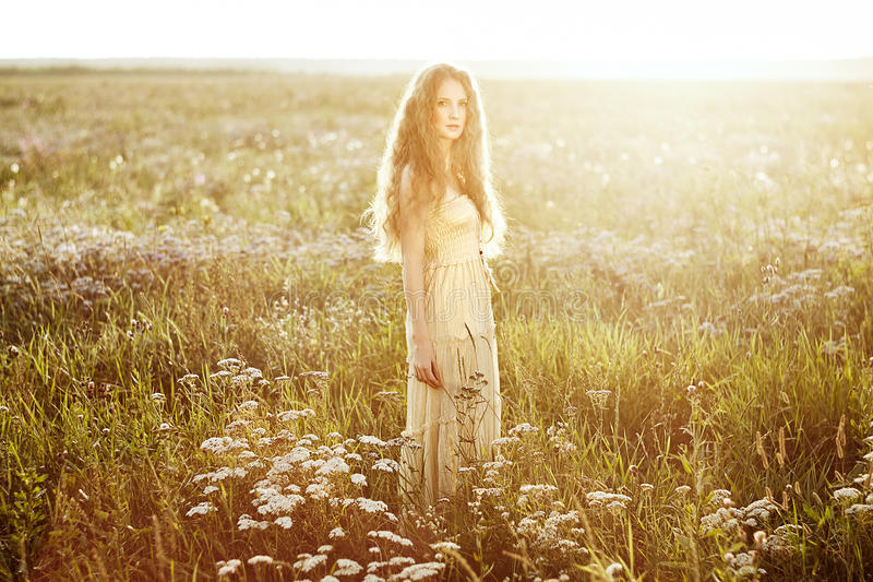 Jong mooi meisje op een de zomergebied Schoonheidszomer royalty-vrije stock foto's
