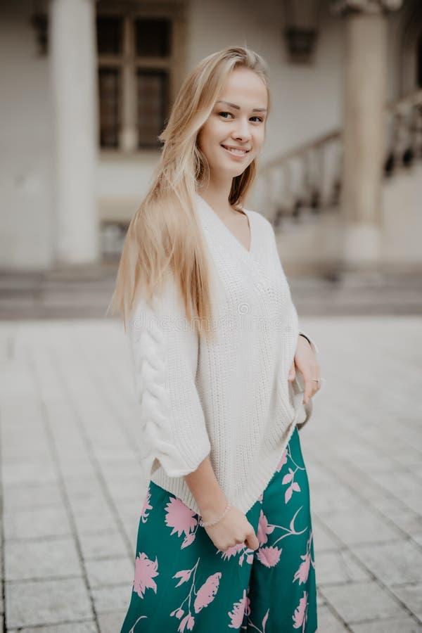 Jong mooi modieus meisje in de straat royalty-vrije stock foto's