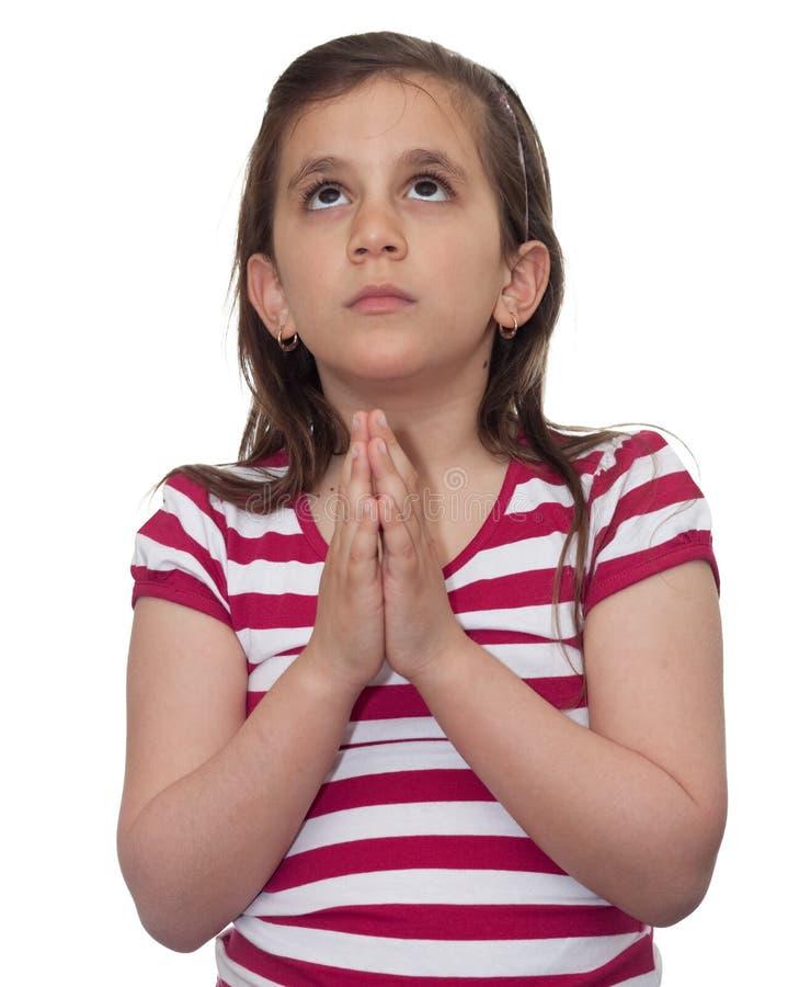 Jong omhooggaand en meisje dat kijkt bidt stock fotografie