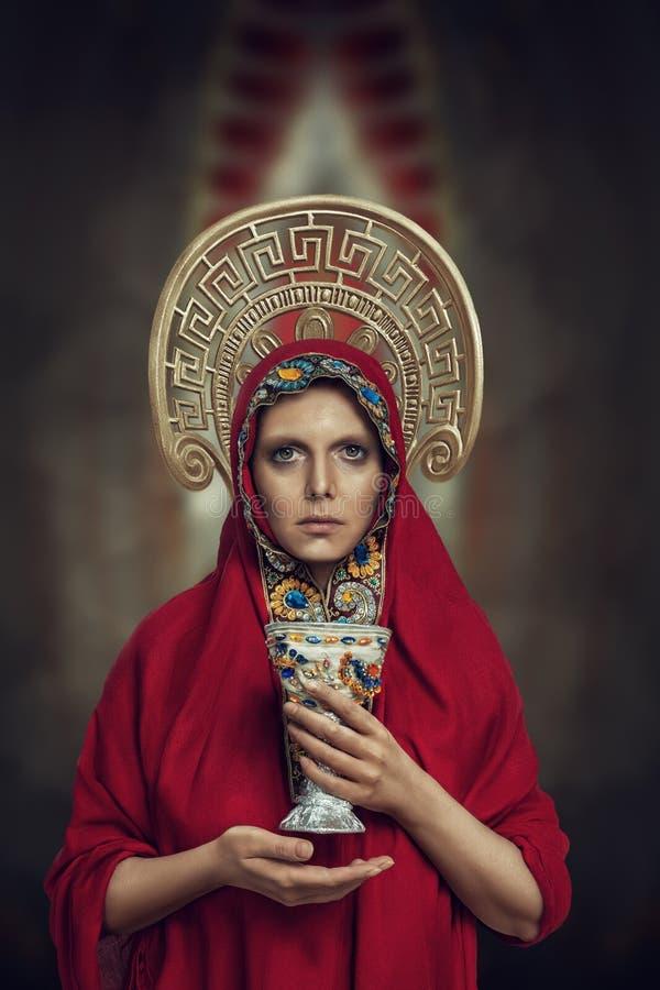 Jong orthodox gebedportret stock foto's