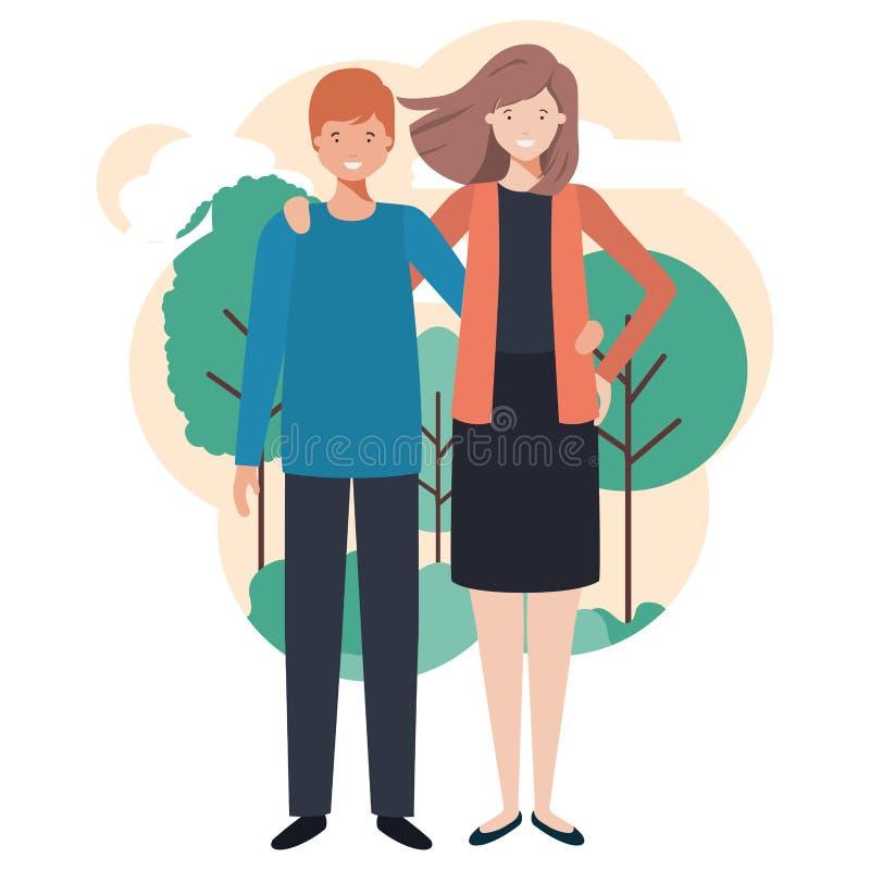 Jong paar in aard royalty-vrije illustratie