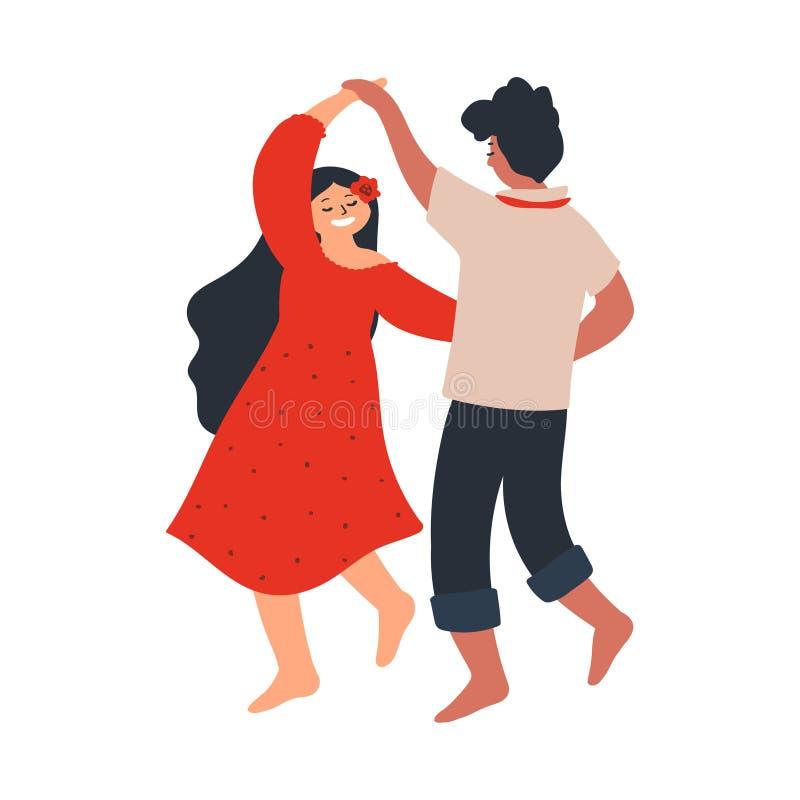 Jong paar die blootvoets dansen Minnaarsvriend en meisje Karakters op witte achtergrond worden ge?soleerd die CS en vector illustratie