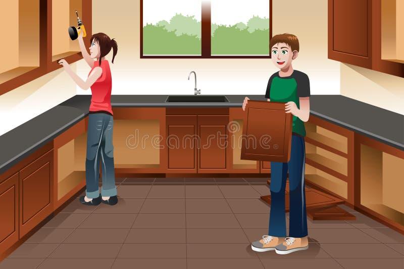 Jong paar die keukenkasten installeren stock illustratie