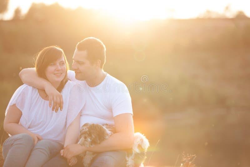 Jong paar en puppy in zonlicht stock fotografie