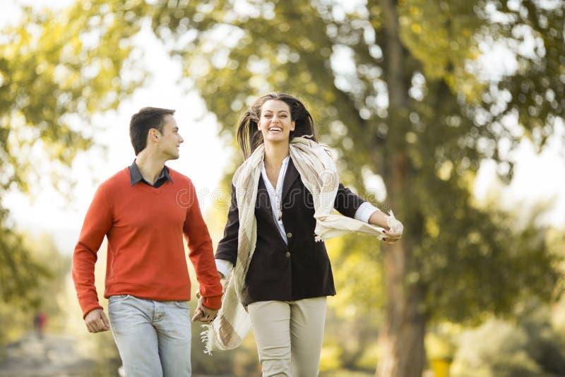 Jong paar in het de herfstpark royalty-vrije stock foto's