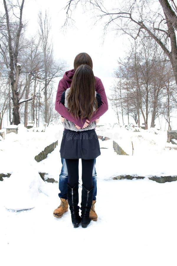 Jong paar in het de winterpark stock afbeelding