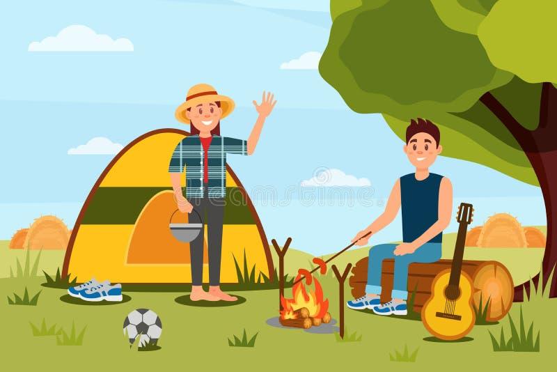 Jong paar in het kamperen Vrouwen golvende hand, man kokende worsten op kampvuur Het landschap van de aard Vlak vectorontwerp vector illustratie