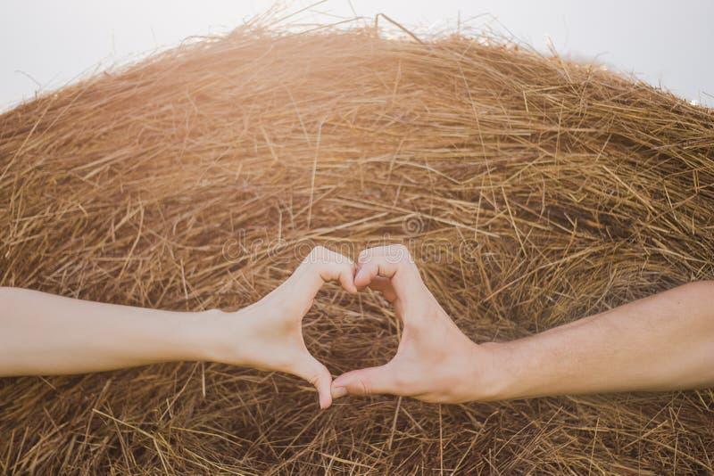 Jong paar in liefde die hartvorm met mannelijke en vrouwelijke handen maken stock foto