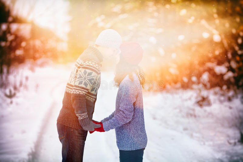 Jong paar in liefde het kussen in openlucht in de sneeuwwinter stock afbeeldingen