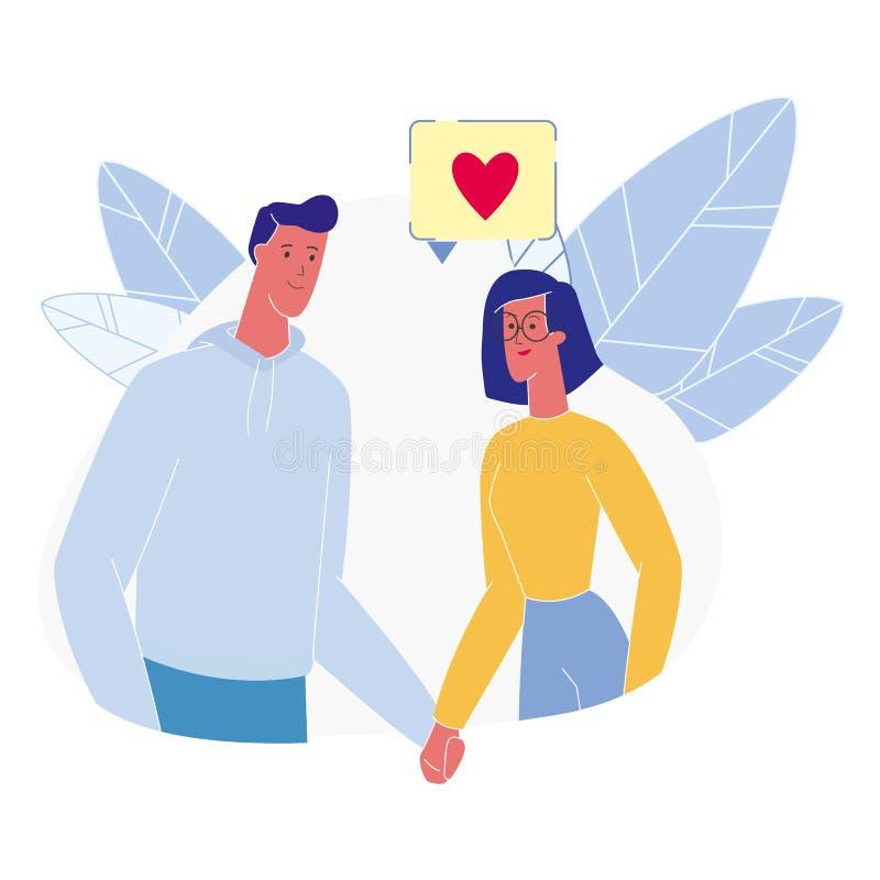 Jong Paar in Liefde Vlakke Vectorillustratie royalty-vrije illustratie