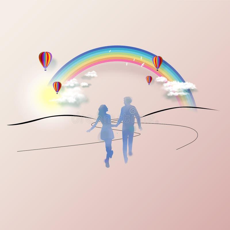 Jong paar in liefdesilhouet plus abstracte waterverf De dagconcept van de valentijnskaart ` s Het digitale kunst schilderen royalty-vrije illustratie