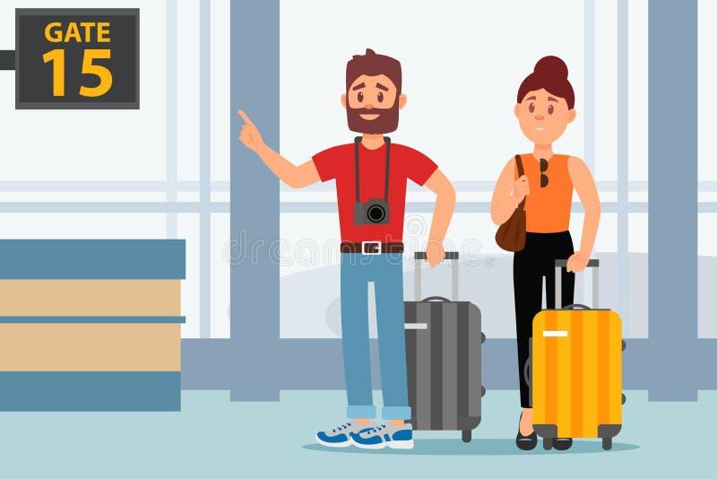 Jong paar in luchthaventerminal Toeristen met koffers Familie het reizen Passagiers met bagage Vlak vectorontwerp stock illustratie