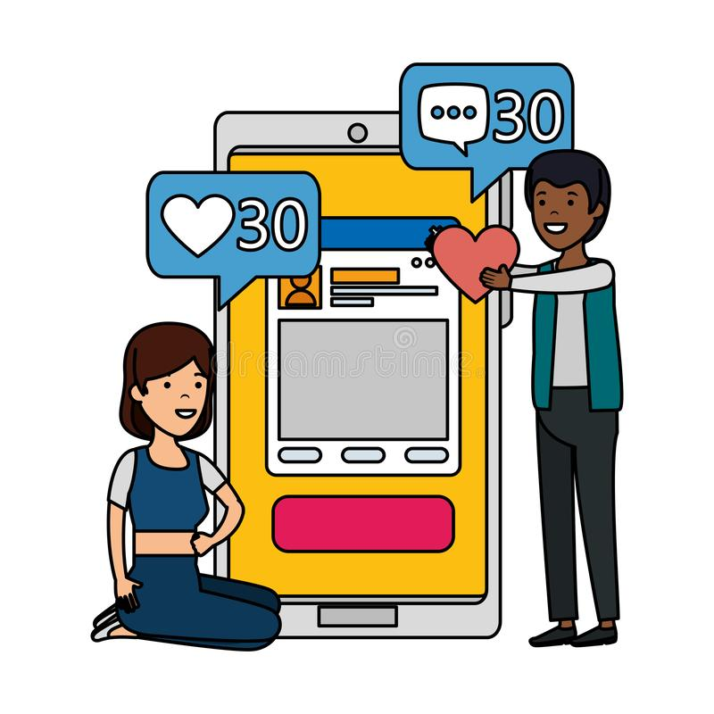 Jong paar met smartphone en sociale media vector illustratie