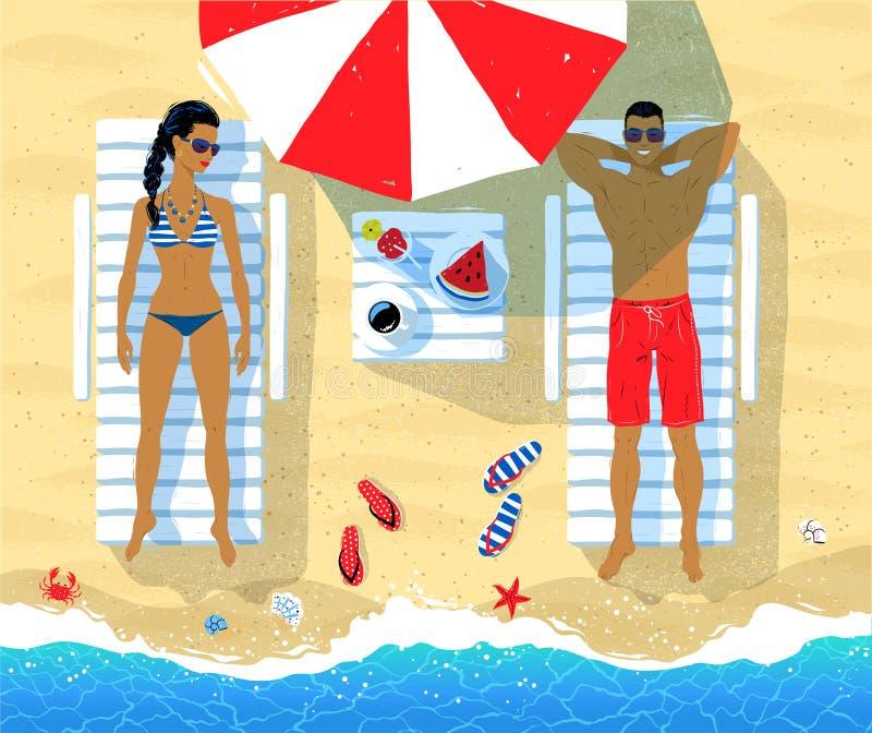Jong paar op vakantie royalty-vrije illustratie