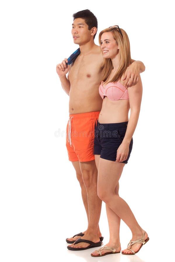 Jong Paar In Swimwear Stock Foto