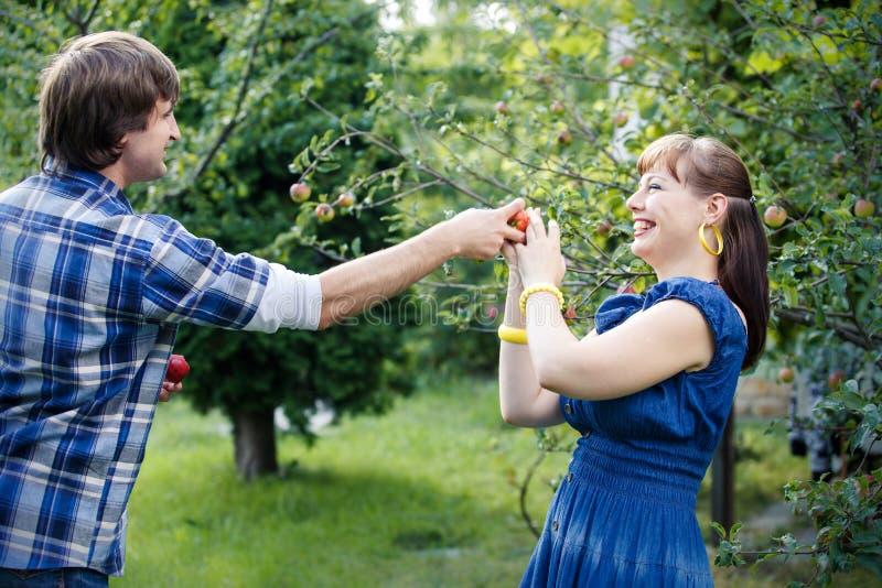 Jong paar in tuin royalty-vrije stock afbeeldingen