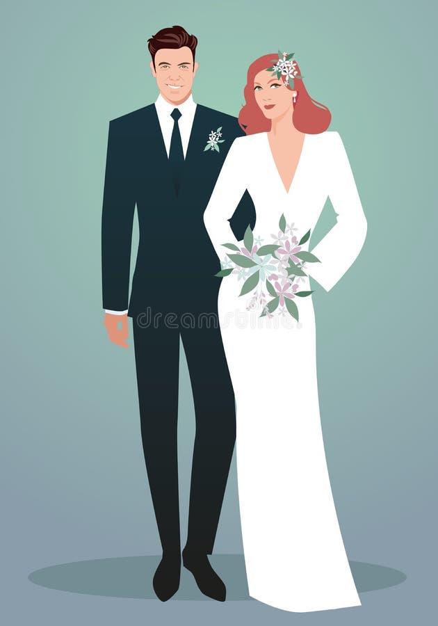 Jong paar van jonggehuwden die huwelijkskleren dragen Retro stijl Elegante bruidegom en mooie rode haired bruid die bruids bouque stock illustratie