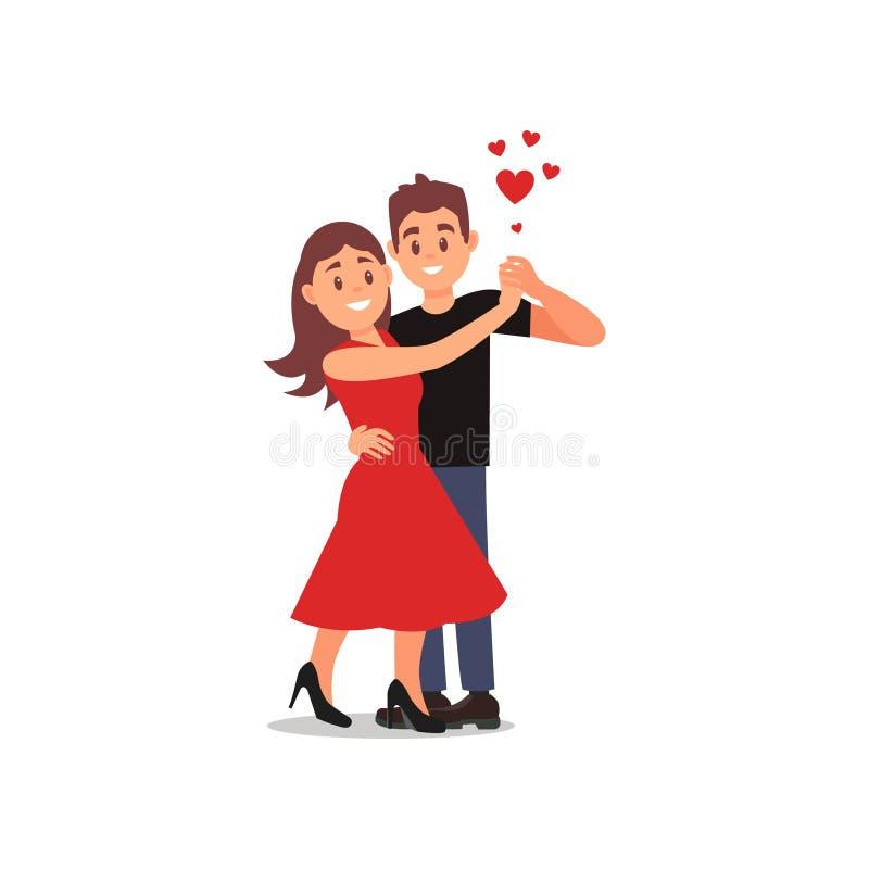 Jong paar van minnaars in het dansen actie Vrouw in rode kleding, man in zwarte t-shirt en blauwe broek Vlak vectorontwerp stock illustratie