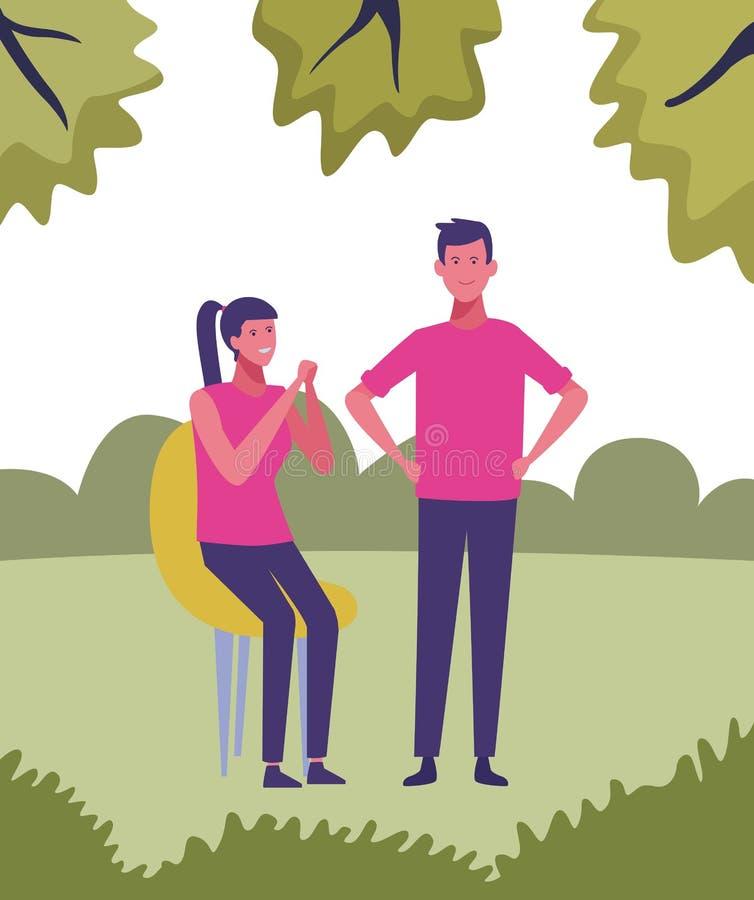 Jong paarbeeldverhaal stock illustratie