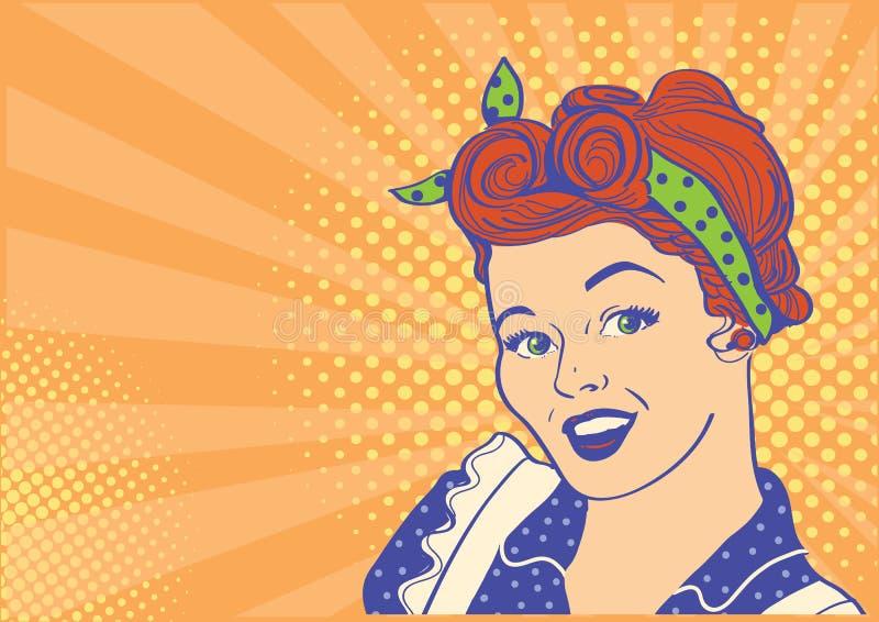 Jong retro vrouwenportret met retro kapsel De vectorachtergrond van het illustratiepop-art royalty-vrije illustratie