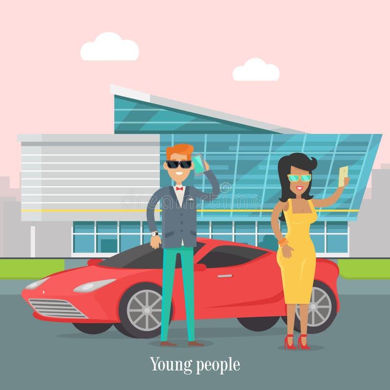 Jong Rich People Standing Near de Luxeauto royalty-vrije illustratie