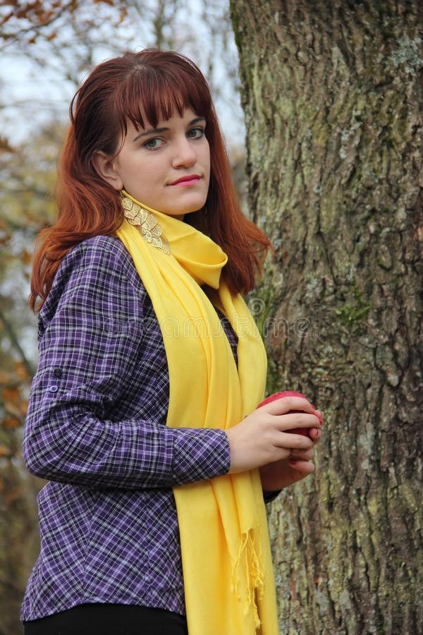Jong roodharig meisje in de herfst royalty-vrije stock foto