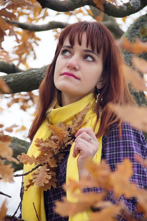 Jong roodharig meisje in de herfst royalty-vrije stock afbeelding