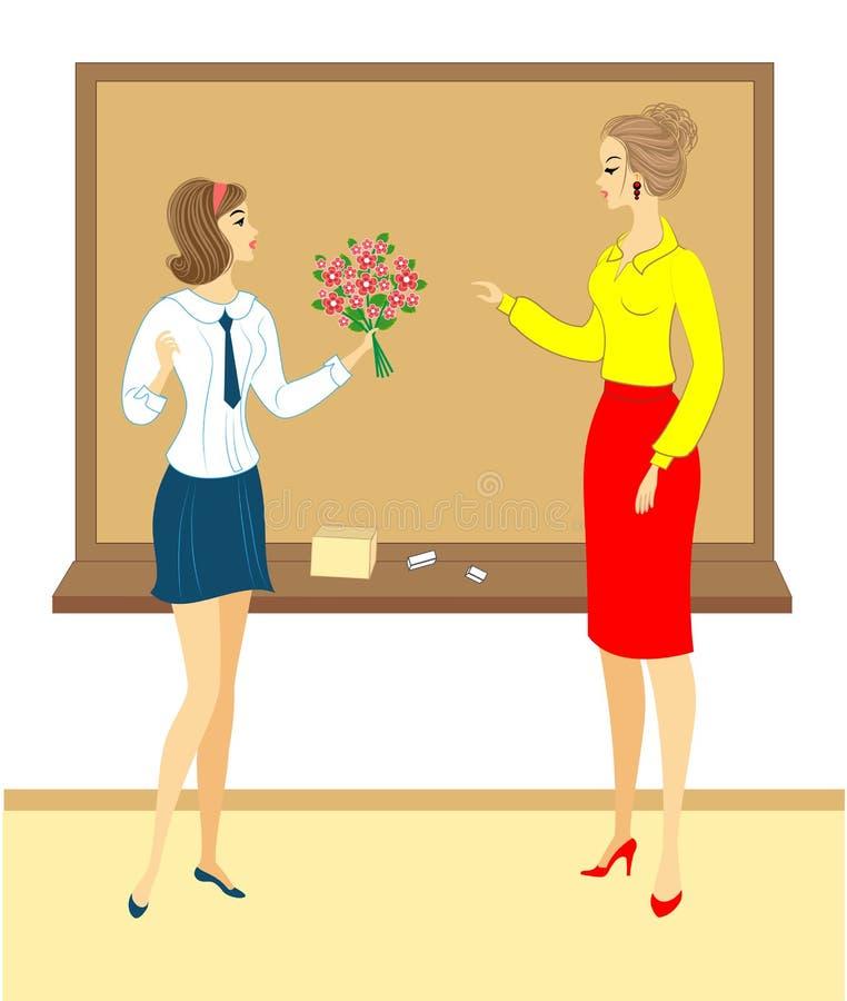 Jong schoolmeisje met bloemen Het meisje geeft een boeket aan de leraar in school, in het klaslokaal, dichtbij de raad De vrouw i royalty-vrije illustratie