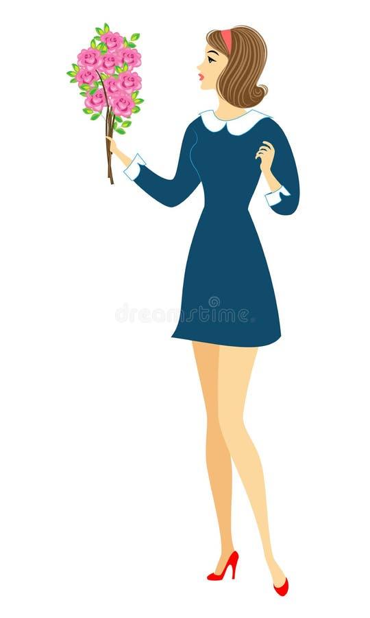 Jong schoolmeisje met bloemen Het meisje is zeer aardig, heeft zij een goede stemming, een glimlach De dame zal het boeket aan de vector illustratie