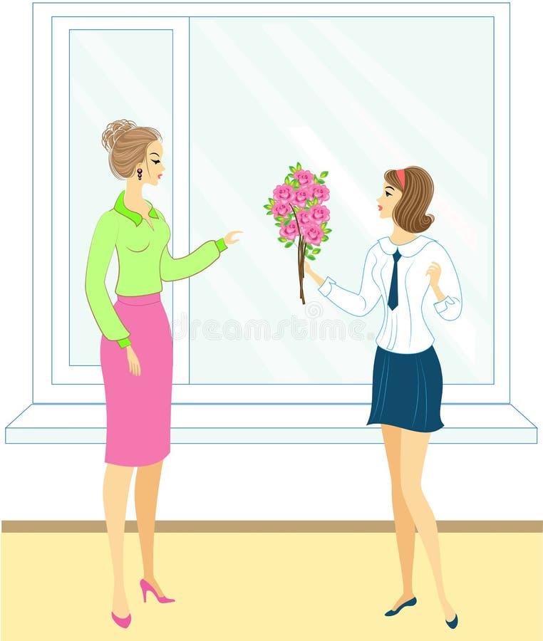 Jong schoolmeisje met bloemen rozen Het meisje geeft een boeket aan de leraar in school, in het klaslokaal, dichtbij het venster  stock illustratie