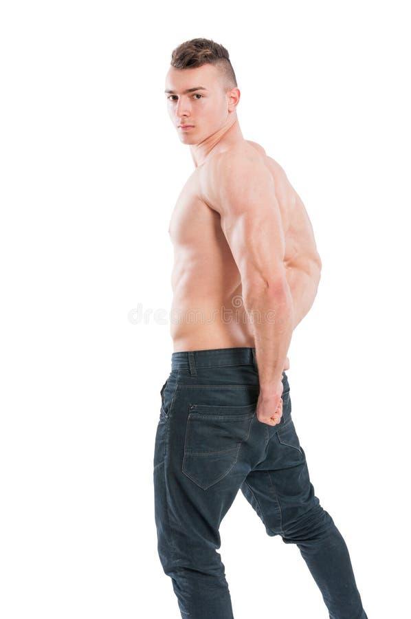 Jong, spier en shirtless mannelijk model royalty-vrije stock afbeeldingen