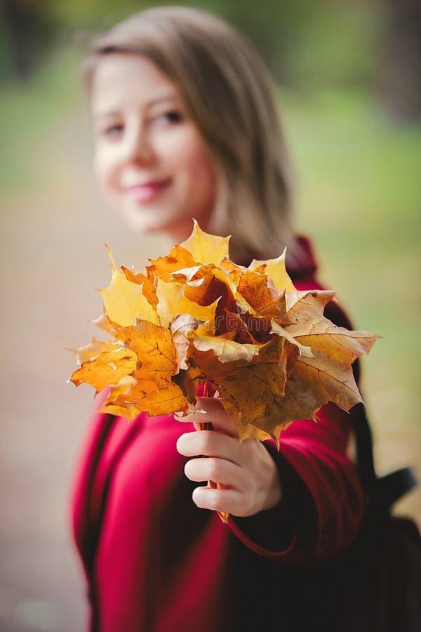 Jong stijlmeisje met bladeren in parksteeg stock foto's