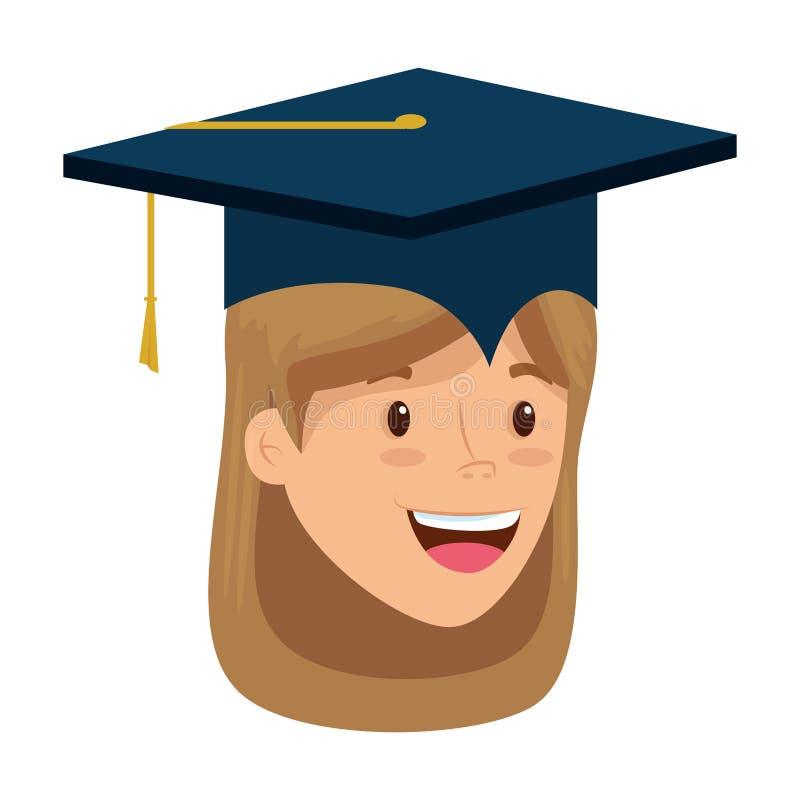 Jong student een diploma behaald meisjes hoofdkarakter vector illustratie