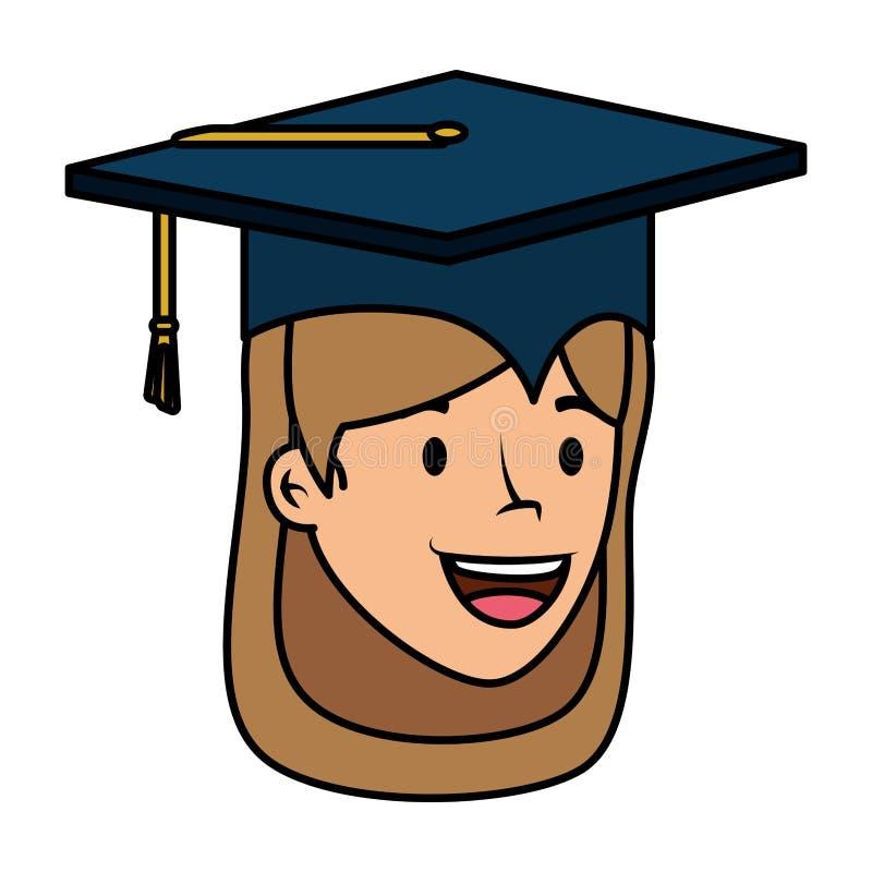 Jong student een diploma behaald meisjes hoofdkarakter stock illustratie