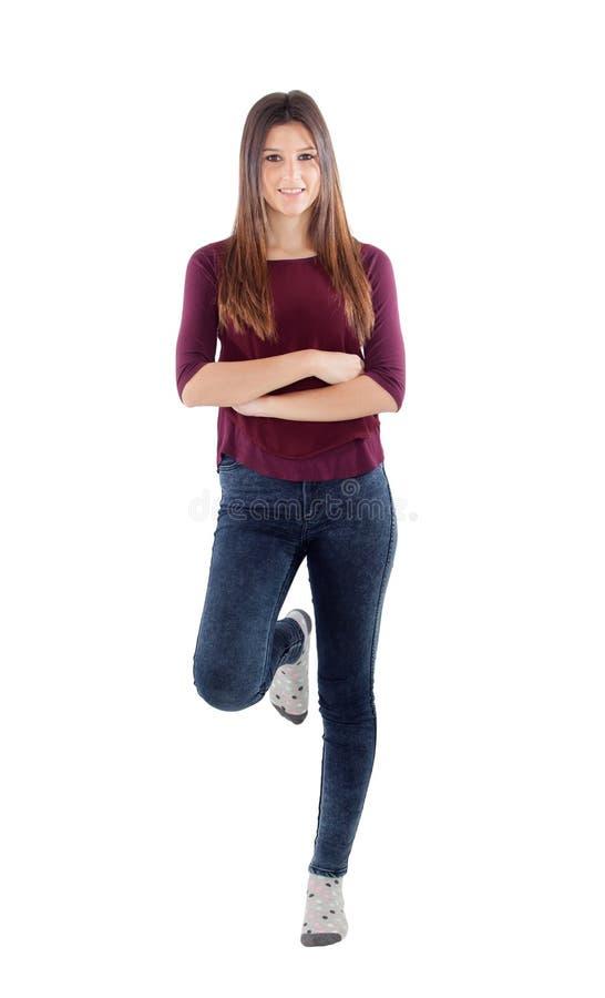 Jong toevallig geïsoleerd meisje royalty-vrije stock afbeeldingen