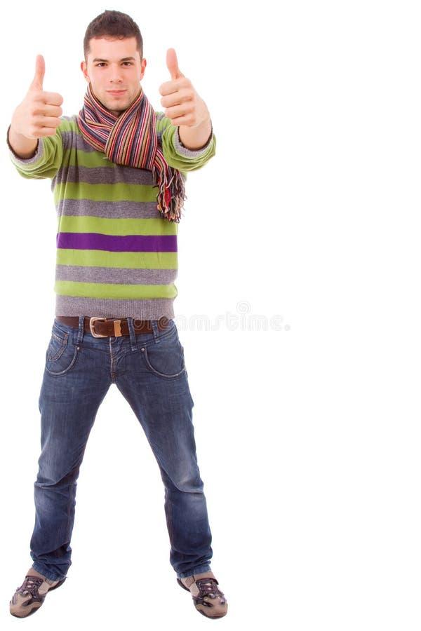 Jong toevallig mensen volledig lichaam tumbs omhoog royalty-vrije stock afbeelding