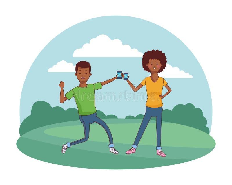 Jong toevallig paarbeeldverhaal vector illustratie