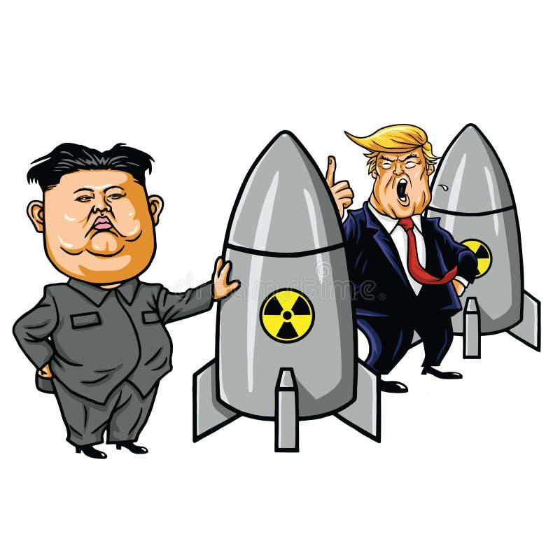 Jong-un de Kim contra Donald Trump Cartoon Caricature Vetora ilustração stock